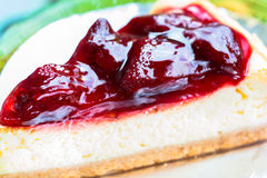 Fresh strawberry cheesecake Stock Image