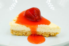 Fresh strawberry cheesecake Royalty Free Stock Images