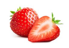 Strawberry with sliced half isolated on white background. Fresh strawberry close-up isolated on white background stock images