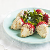 Fresh strawberry coated in yogurt and cookies crumble. Served on plate Stock Image