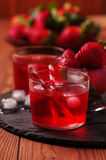 Fresh strawberry cocktail on the wooden table Royalty Free Stock Photo