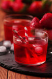 Fresh strawberry cocktail on the wooden table Royalty Free Stock Photos