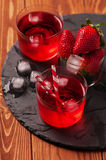 Fresh strawberry cocktail on the wooden table Royalty Free Stock Image