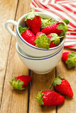 Fresh strawberry in coffee cup Stock Photos