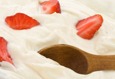 Fresh strawberry in cream. Fresh strawberry in sour cream Royalty Free Stock Photography