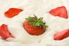 Fresh strawberry in cream Stock Image