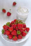 Fresh strawberry with cream cheese dip Stock Image