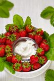 Fresh strawberry with cream cheese dip Royalty Free Stock Image