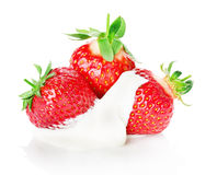 Fresh strawberry with cream isolated on white background Royalty Free Stock Photo