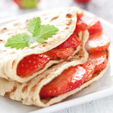 Fresh strawberry crepe Stock Images