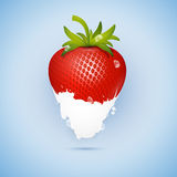 Fresh Strawberry Dipped In Ice Cream, Milk Royalty Free Stock Images