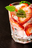 Fresh strawberry drink. On dark background Royalty Free Stock Image
