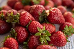 Fresh strawberry from farm. Ripe red strawberries on table. Harvest in garden, juicy strawberries, fruit, dessert, healthy, sweet, background, tasty, summer royalty free stock images
