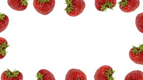 Fresh strawberry frame. On white background - loopable animation stock video