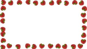 Fresh strawberry frame. On white background - loopable animation stock footage
