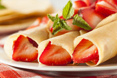 Fresh Strawberry French Crepes Stock Images