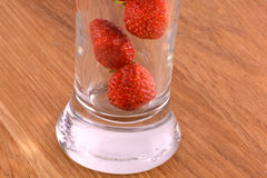 Fresh strawberry fruit in a glass dish Stock Photos