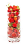 Fresh strawberry fruit in a glass dish Royalty Free Stock Photos
