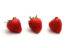 Fresh strawberry fruit isolated on white backgroud Royalty Free Stock Images