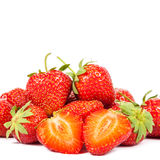 Fresh strawberry fruit on white background. Royalty Free Stock Photography