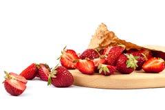 Fresh strawberry fruit on white background. Royalty Free Stock Images
