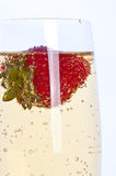Fresh strawberry in glass of champagne Royalty Free Stock Photos