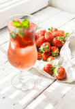 Fresh strawberry and glass of ice strawberry cocktail Stock Photography