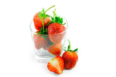 Fresh strawberry in glass Stock Images
