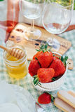 Fresh strawberry and honey served for summer picnic Royalty Free Stock Images