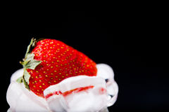 Fresh strawberry in ice on black background Royalty Free Stock Images