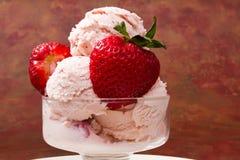 Fresh strawberry ice cream Stock Photo