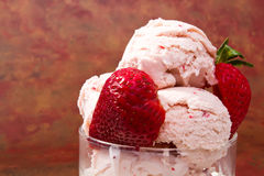 Fresh strawberry ice cream Royalty Free Stock Photo
