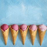Fresh strawberry ice cream. Royalty Free Stock Images