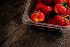 Fresh Strawberry In Plastic Box Packaging Stock Images