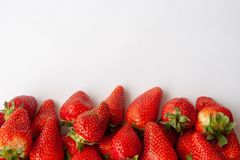 Healthy strawberry isolated on white background. Copy space. Top view, High resolution product. royalty free stock photos