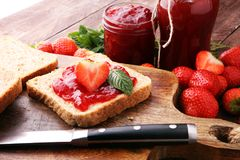 Fresh strawberry jam with toast or bread for breakfast.  Royalty Free Stock Photo