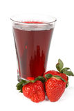 Fresh strawberry and juice glass Stock Photography
