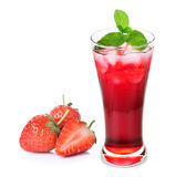 Fresh strawberry and juice glass Stock Images