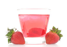 Fresh strawberry and juice glass Royalty Free Stock Images