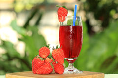 Fresh strawberry juice Stock Image
