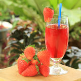 Fresh strawberry juice Stock Photography