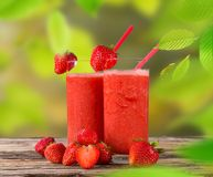 Fresh strawberry juice Stock Photos