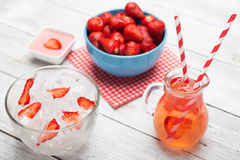 Fresh strawberry juice with ice. Stock Photo