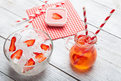 Fresh strawberry juice with ice. Royalty Free Stock Images