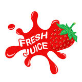 Fresh strawberry juice. Logo of fresh juice,  illustration Royalty Free Stock Photos