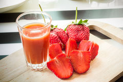 Fresh strawberry and juice Stock Photos