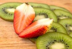 Fresh Strawberry and kiwi slices Stock Photos