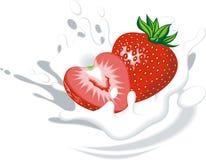 Fresh strawberry in milk or yogurt Royalty Free Stock Images