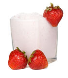 Fresh strawberry milkshake Stock Photos