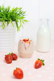 Fresh strawberry milkshake Stock Image